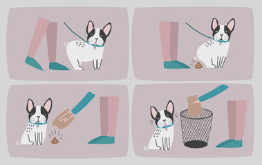 Clean after your dog. Set of consecutive cartoon images with puppy and his owner cleaning up him shit. Vector colorful illustration in flat style.