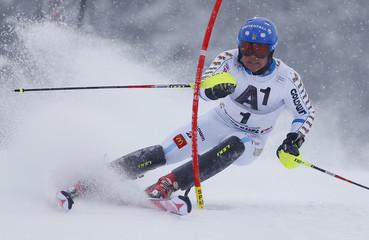Hargin of Sweden competes during men's Alpine Skiing World Cup slalom in Kitzbuehel