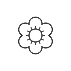 Flower line icon, outline vector sign, linear style pictogram isolated on white. Symbol, logo illustration. Editable stroke. Pixel perfect