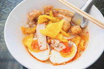 Close-Up of Spicy Tom Yum Noodle Soup