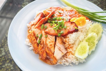 Thai-Style Barbecue Red Pork with Rice, or Known As Kao Moo Daeng