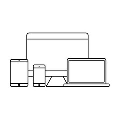 Mockup gadget and device outline icons set vector illustration