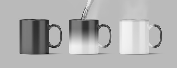 Blank magic mug mock up isolated, cold and hot state, 3d rendering. Magical heat sensitive cup mock up, water boiling. Color changing beverage utensil template. Morphing ceramic with thermoprint space