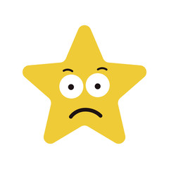 Star cute character sad expression