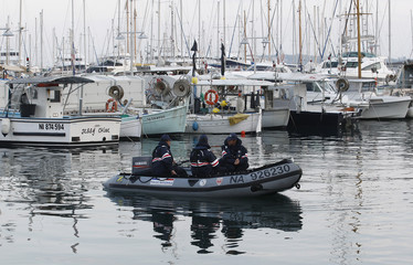 French police patrol the harbour of Cannes ahead of the G20 Summit