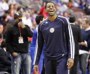Denver Nuggets Andre Iguodala smiles before the start of the team's NBA basketball game against Philadelphia 76ers in Philadelphia