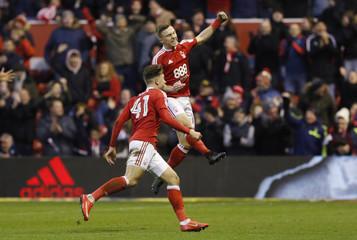 Nottingham Forest's Ben Osborn celebrates their first goal