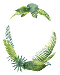Watercolor wreath tropical leaves and branches isolated on white background.