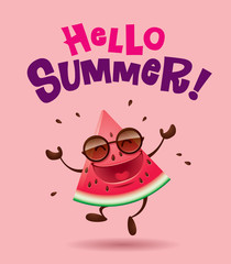 Hello Summer! Watermelon character with arms open wide.