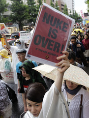 Protesters participate in a march celebrating the shutdown of Japan's last working nuclear power plant in Tokyo