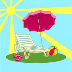 illustration of summer vacation - beach chair, umbrella, slippers, ball