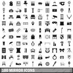 100 mirror icons set, simple style