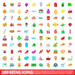 100 retail icons set, cartoon style