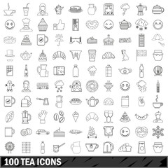 100 tea icons set, outline style