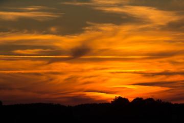 Deep red orange sunset.