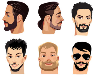 vector portraits of face men with beard, bearded man