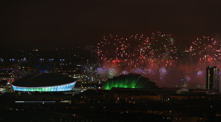 Fireworks light up over the Commonwealth Games venues in Glasgow, Scotland