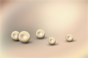 Fotobehang Shine pearls on light background. Set of different size natural pearls