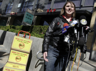 Katy Butler, a one time victim of bully speaks at a news conference to annouce her delivery of  more than 210,000 petition signatures to the Los Angeles office of the Motion Picture Association of America
