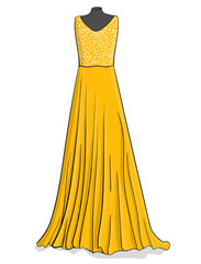 Yellow long dress with white lace on the corse