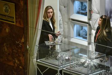 Lara Trump chooses jewelry at Ivanka Trump's store at Trump Tower in New York City