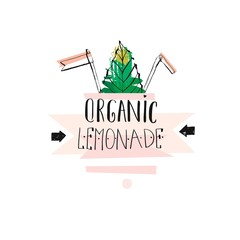 Hand drawn vector creative unique Lemonade sign with mint leaves,arrows and handwritten modern calligraphy quote Organic lemonade isolated on white background.Fresh Farm Market logo design,stamp,sign.