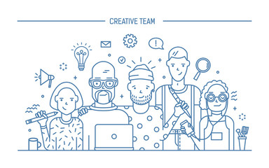 Creative business team concept. Banner with teamwork command. Young designers, girls and guys cv. Lineart flat illustration.