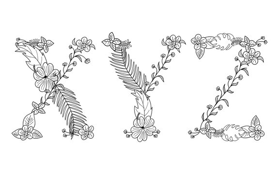 Tropical floral summer pattern hand drawn ornamental font set with palm beach leaves, flower. Letter X,Y,Z
