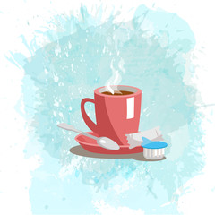 Pink cup with coffee drink on a abstract watercolor spot background. Trendy soft colors.