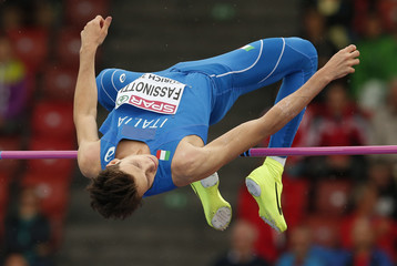 Fassinotti of Italy competes in men's high jump during European Athletics Championships in Zurich