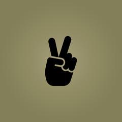 hand gesture victory symbol icon. flat design