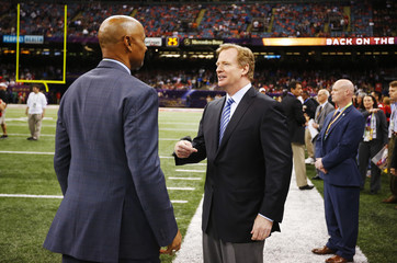 NFL Commissioner Goodell speaks on the sidelines before the 49ers play the Ravens in the NFL Super Bowl XLVII football game in New Orleans