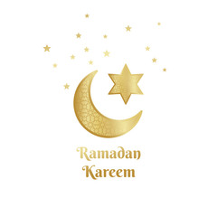 Ramadan Kareem greeting card, banner, poster, logo with crescent, moon and star elements. Vector arabic gold background in islamic style