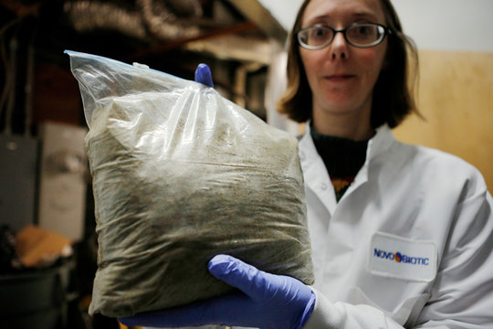 Amy Spoering, Director of Biological Research at the biotech NovoBiotic Pharmaceuticals and who isolated from soil the bacterium Eleftheria terrae, the basis for the promising new antibiotic Teixobactin, holds a bag of dirt sent to the lab by a citizen-sc