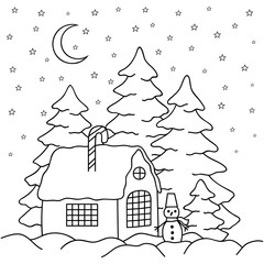 Hand-draw village house behind the fence. Coloring book page for adults and children. Winter country landscape - house, moon, stars, fir-trees, snowman
