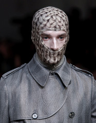 A model displays a creation as part of the Alexander McQueen Fall/Winter 2010/11 Men's collection during Milan Fashion Week