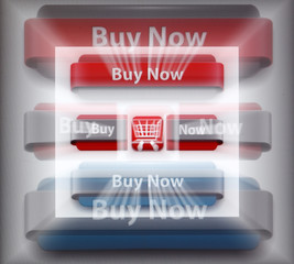 A zoomed image of a computer monitor shows a website selling button clipart for online shops in Vienna