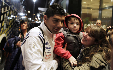 Paraguay's national soccer team player Nestor Ortigoza arrives at his hotel in Buenos Aires