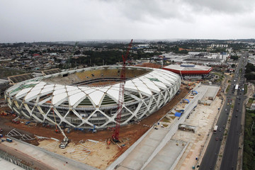 Aerial view of the Arena Amazonia stadium, under construction to host 2014 World Cup soccer matches, after work was suspended by a labor court, in Manaus