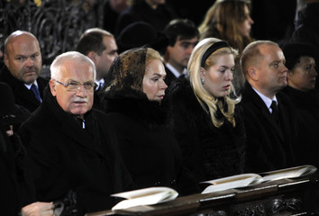 Czech President Klaus, Dagmar, the widow of late former President Havel and her daughter Nina attend the funeral ceremony inside Prague Castle's St. Vitus Cathedral