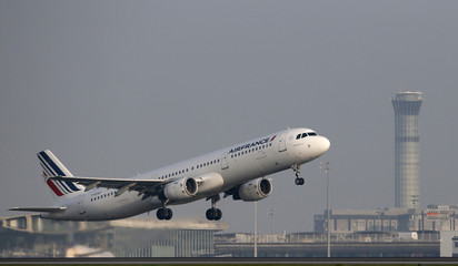 An Air France aircraft takes-off at the Charles-de-Gaulle airport near Paris