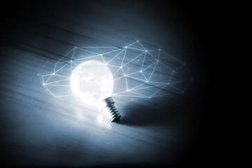 lampadina, luce, concetto, icone