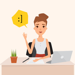 business woman happy with job. business concept successful working. illustration vector of a flat design.