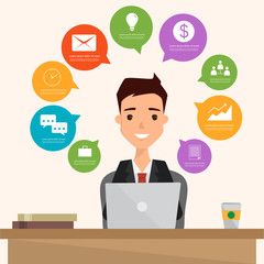 business man using a laptop to communication infographic. illustration vector of a flat design.