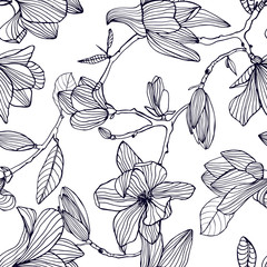 Flowering magnolia. Hand drawn black and white seamless pattern with blooming flowers. vector wallpaper.