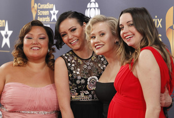 """Actresses of the TV series """"Mohawk Girls"""" arrive at the 2016 Canadian Screen Awards in Toronto"""