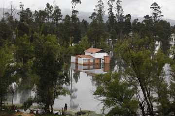 A flooded farm is seen in the municipality of Lenguazaque near Bogota