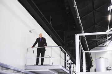 Businessman standing on platform overlooking industrial hall