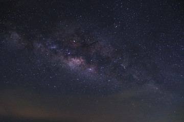 milkyway galaxy with cloud at phitsanulok in thailand. Long exposure photograph.with grain