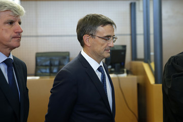Pierre Plissonnier, Air France deputy of long-haul flights, and former Air France Executive Vice President in charge of Human Resources and Labour Relations Xavier Broseta arrive at the courthouse in Bobigny